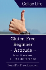 Pinterest mini image - Gluten free beginner - attitude - why it makes all the difference with a thumbs up against a blue sky