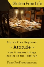 Pinterest mini image - Gluten free beginner - attitude - how it makes things easier in the long run with a fancy set dinner table by candlelight