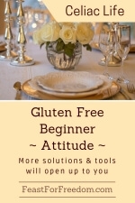 Pinterest mini image - Gluten free beginner - attitude - more solutions and tools will open up to you with an elegant dinner table setting with yellow roses