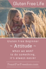 Pinterest mini image - Gluten free beginner - attitude - when we WANT to do something it's always easier with a mother and child outside cuddling