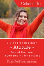 Pinterest mini image - Gluten free beginner - attitude - one of the core requirements for success with a woman smiling and with her arms raised