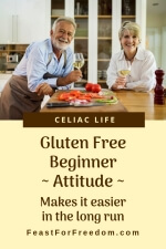 Pinterest mini image - Gluten free beginner, attitude, makes it easier in the long run, with a couple cooking dinner and enjoying a glass of wine