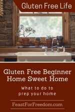 Pinterest mini image - Gluten free beginner home sweet home, what to do to prep your home with a kitchen sink with a window sill with small house plants