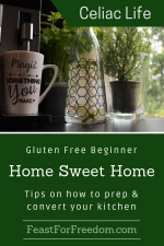 Pinterest mini image - Gluten free beginner home sweet home, tips on how to prep and convert your kitchen with a coffee maker with a cup, a jug of lemon water, and a potted herb next to a window