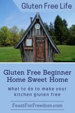 Pinterest mini image - Gluten free beginner home sweet home, what to do to make your kitchen gluten free with a little house and yard against a blue sky