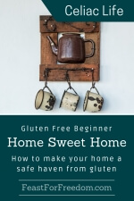 Pinterest mini image - Gluten free beginner home sweet home, how to make your home a safe haven from gluten with antique cups and coffee pot on a wooden wall rack