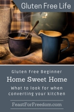 Pinterest mini image - Gluten free beginner home sweet home, what to look for when coverting your kitchen to gluten free with a cozy table with steaming hot coffee and a small jug of cream