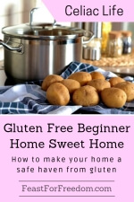 Pinterest mini image - Gluten free beginner home sweet home, how to make your home a safe haven from gluten with a shiny pot next to a fresh pile of clean potatoes with their skins on, on a kitchen towel