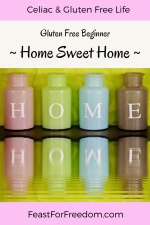 Pinterest mini image - Gluten free beginner home sweet home, with 4 colored containers laid out to spell HOME
