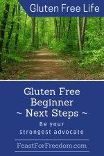 Pinterest mini image - Gluten free beginner next steps, be your strongest advocate with a forest path