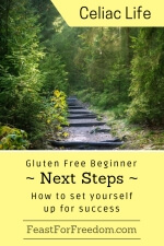 Pinterest mini image - Gluten free beginner next steps, how to set yourself up for success with steps in a forest
