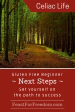 Pinterest mini image - Gluten free beginner next steps, set yourself on the path to success with a forest path
