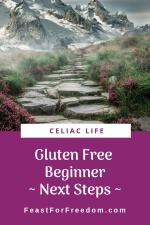 Pinterest mini image - Gluten free beginner next steps, with a mountain stone path with pink flowers and snowy mountains