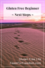 Pinterest mini image - Gluten free beginner next steps with footprints in the sand against a pink sky