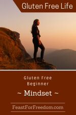 Pinterest mini image - Gluten free beginner mindset with a woman looking out from a mountain top