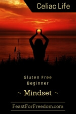 Pinterest mini image - Gluten free beginner mindset with a woman silhouette against a red sunset