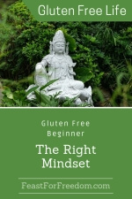 Pinterest mini image - Gluten free beginner mindset with a white stone buddha in the forest
