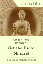 Pinterest mini image - Gluten free beginner mindset with a buddha statue in an alcove