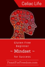 Pinterest mini image - Gluten free beginner mindset with a red head made out of clock gears