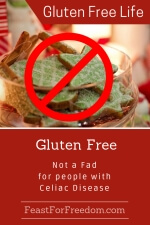 Pinterest mini image - Gluten Free is not a fad with Celiac Disease with cookies and a no go symbol