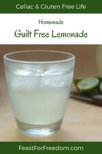Pinterest mini image - Fresh iced lemonade in a glass with limes in the background