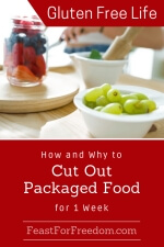 Pinterest mini image - How and why to cut out packaged food with fresh fruit in a bright kitchen