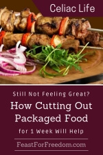 Pinterest mini image - Cut out packaged food to feel better with chicken skewers