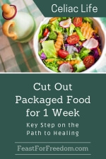 Pinterest mini image - Key to healing cut out packaged food with fresh veggie salad