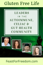 Pinterest mini image - Leaders in the autoimmune, Celiac and gut health community with photos on dark green background