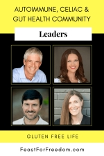 Pinterest mini image - Leaders in the autoimmune, Celiac and gut health community with photos on a yellow and black background