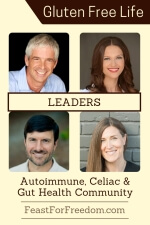 Pinterest mini image - Leaders in the autoimmune, Celiac and gut health community with photos on a beige background
