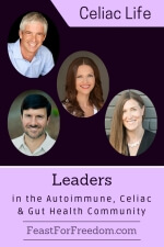 Pinterest mini image - Leaders in the autoimmune, Celiac and gut health community with photos on a purple background