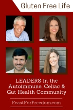 Pinterest mini image - Leaders in the autoimmune, Celiac and gut health community with photos on a red background
