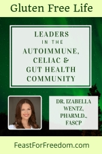 Pinterest mini image - Leaders in the autoimmune, Celiac, and gut health community, Dr. Izabella Wentz, Pharm.D, FASCP photo on dark green background