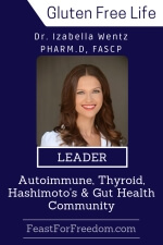 Pinterest mini image - Dr. Izabella Wentz, Pharm.D, FASCP, leader in the autoimmune, thyroid, Hashimoto's and gut health community, photo on a blue background