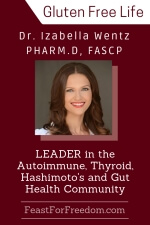 Pinterest mini image - Dr. Izabella Wentz, Pharm.D, FASCP, leader in the autoimmune, thyroid, Hashimoto's and gut health community, photo on a burgundy background