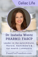 Pinterest mini image - Dr. Izabella Wentz, Pharm.D, FASCP, leader in the autoimmune, thyroid, Hashimoto's and gut health community, photo on a blue faded background with spice jars