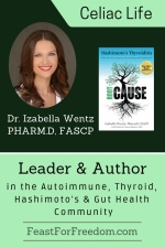 Pinterest mini image - Dr. Izabella Wentz, Pharm.D, FASCP, leader and author in the autoimmune, thyroid, Hashimoto's and gut health community, photo and book image on a teal background