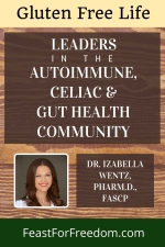 Pinterest mini image - Leaders in the autoimmune, Celiac and gut health community, Dr. Izabella Wentz, Pharm.D, FASCP photo on a wood background