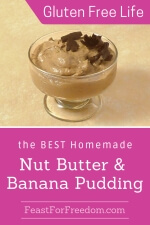 Pinterest mini image - Nut butter and banana pudding in a simple bowl, topped with large grated chocolate chunks