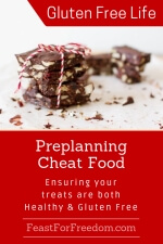 Pinterest mini image - Preplan your gluten free cheat food with chocolate almond bark with a festive tie