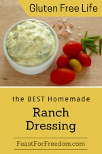 Pinterest mini image - Homemade Ranch salad dressing in a bowl beside cherry tomatoes and rock salt
