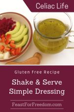 Pinterest mini image - Shake and serve simple salad dressing in a glass jar next to a veggie plate