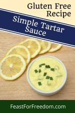 Pinterest mini image - Tartar sauce in a small bowl garnished with sliced lemons and green onions
