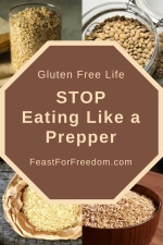 Pinterest mini image - Stop eating like a prepper with a stop sign and several dried foods