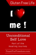 Pinterest mini image - Unconditional self love, part of the healing journey with an I heart me image