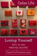 Pinterest mini image - Unconditional self love, part of the healing journey with a wall of little wrapped boxes