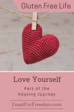 Pinterest mini image - Unconditional self love, part of the healing journey with a knit red heart hanging from a string