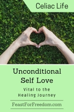 Pinterest mini image - Unconditional self love, vital to the healing journey with with hands shaped into a heart against a background of grass