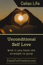 Pinterest mini image - Unconditional self love, with it you have the strength to grow with a silhouette of hands shaped into a heart, framing the sun at sunset